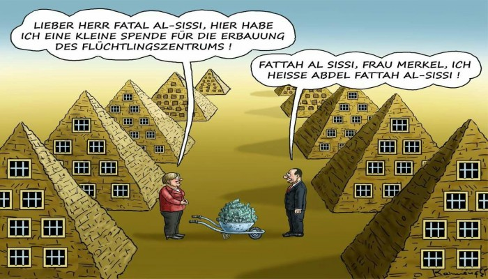 كاريكاتير يوضح صورة مصر على يد السفاح أمام الغرب