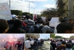 مسيرة لطلاب جامعة المنصورة احتجاجًا على فصل زملائهم