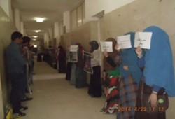 سلسلة بشرية لطالبات علوم المنوفية تهتف بالحرية للمعتقلين