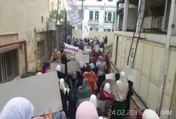 مظاهرة بالمجمع الطبي بالإسكندرية تندد بجرائم عصابة العسكر