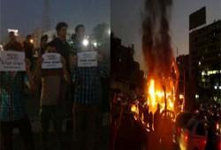 إشعال النيران في النصب التذكاري بميدان رابعة العدوية