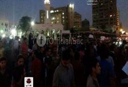 وقفة احتجاجية مفاجئة للطلاب في ميدان رابعة في ذكرى المذبحة