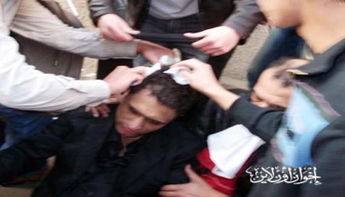 معتقلو ميدان التحرير يتظاهرون داخل أحد مقارِّ الاحتجاز