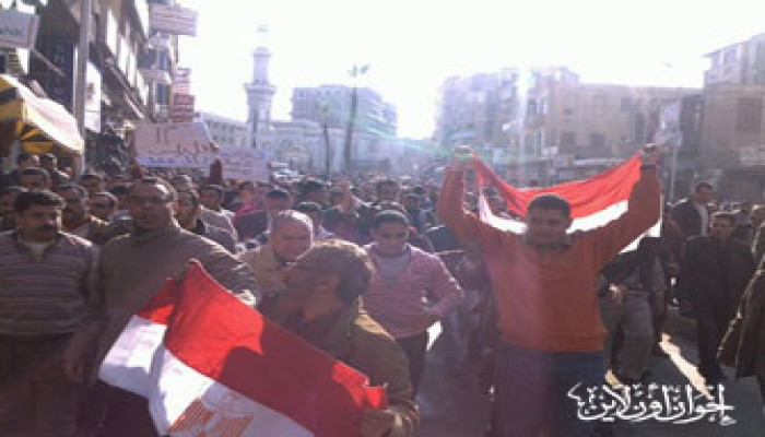 مظاهرات دمنهور تطالب برحيل النظام الحاكم