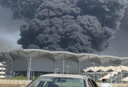 حريق هائل في قطار الحرمين بمنطقة السليمانية