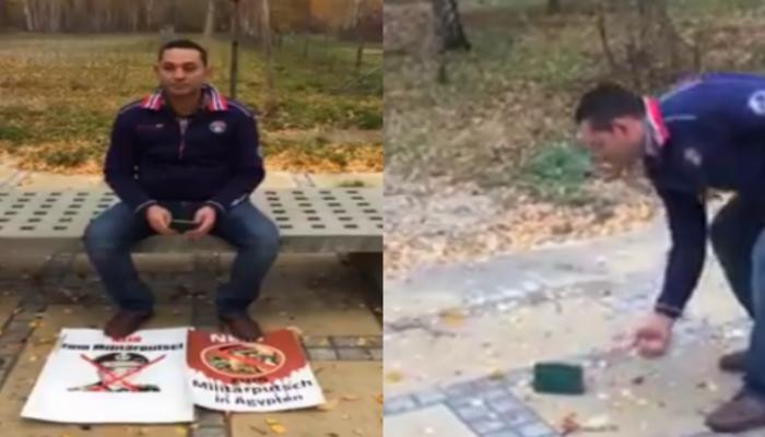 الانقلاب يقتل الهوية لدى الشباب.. مصري بألمانيا يحرق جواز سفره