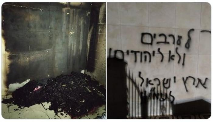 حرق مسجد بفلسطين.. ورسوم مسيئة وصليب معقوف على واجهة مسجد بفرنسا