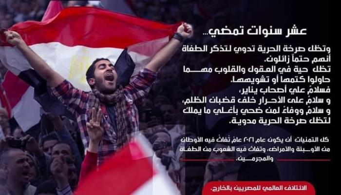 """""""ائتلاف المصريين بالخارج"""": ثورة يناير مازالت حية مهما فعل الطغاة"""